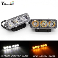 Yituancar 2Pcs/Set 9W 87MM LED DRL Daytime Running Light DC12V White Amber Turn Signal Steering Car Styling Waterproof Work Lam(China)