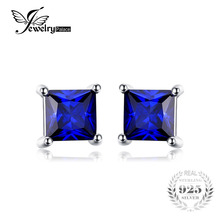 JewelryPalace Square 0.8ct Created Blue Sapphire 925 Sterling Silver Stud Earrings for Women Fine Jewelry Fashion Earring(China)
