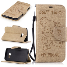 For 2017 Galaxy A3 Retro Flip Leather Case Cute Bear Wallet Fiber Texture Leather Stand Cover For Samsung Galaxy A3 2017 A320