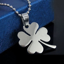 LASPERAL Lucky Womens Necklace Heart Clover Silver Pendant Necklace Stainless Steel Fine Jewelry 49cm 1PC