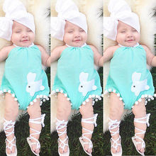 summer romper 2016 wholesale cute baby girl costume rabbit halter romper +hair band outfits sunsuit clothing