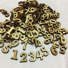 100 Pcs Rustic Wooden Number Festival Birthday Christmas Wedding Party Table Scatter Wood Decoration Crafts(China)