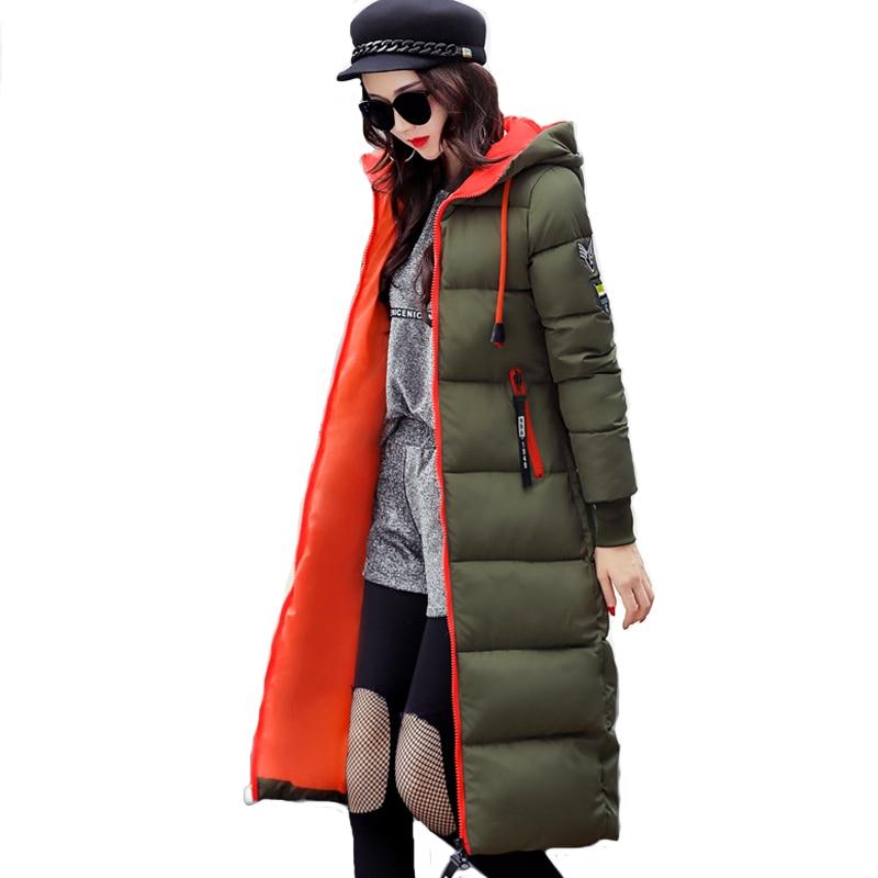 2017 winter women long slim warm parka coat female large size hooded solid color cotton jacket jaqueta feminina invernoÎäåæäà è àêñåññóàðû<br><br>