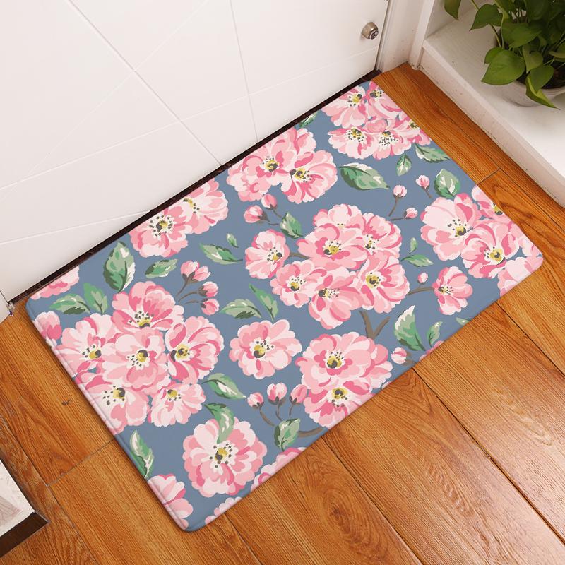 Flannel Floor Mats Small Floral Printed Bedroom Living Room Carpets Cartoon  Pattern Mat For Hallway Anti Slip Tapete   Us187