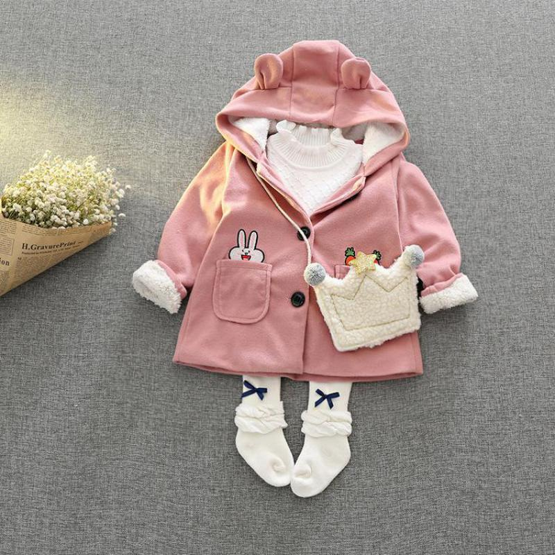 LSK592 Baby Girls Coat Fleeced Cartoon Bunny Kids Winter Jacket Pink Toddler Winter Coat 2017 Brand New Outerwear Girls Clothes<br>