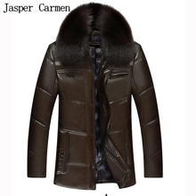 2017 Hot sale Men's winter coat jacket PU leather jacket collar middle-aged men's thick warm cotton business Z198