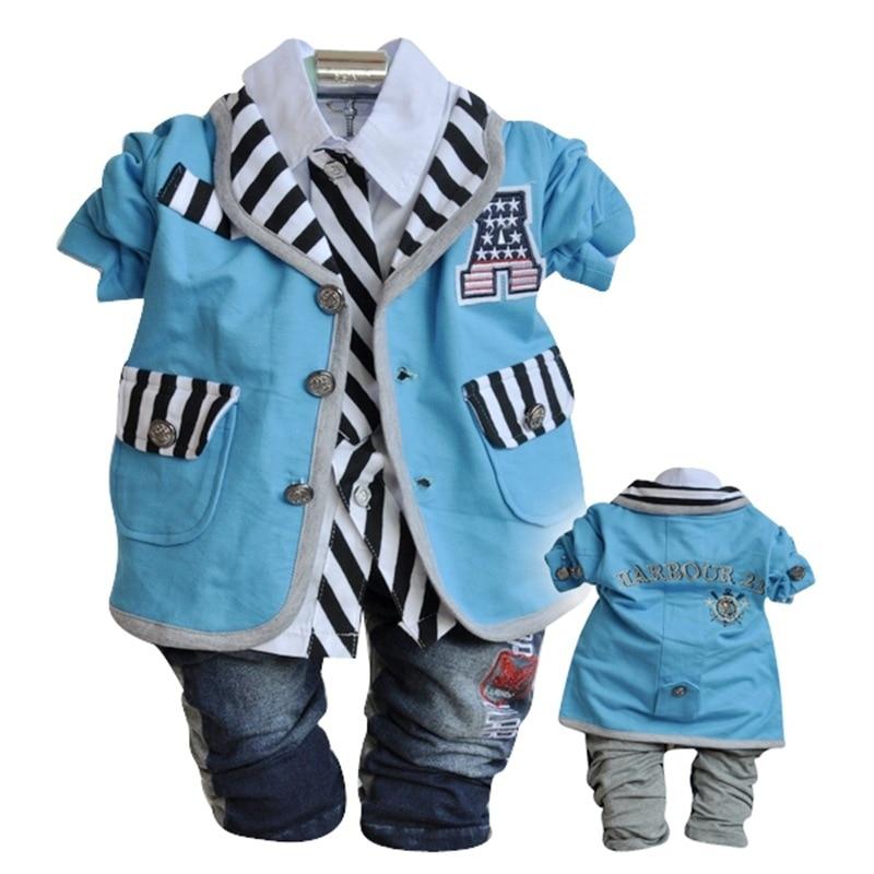 Gentleman Baby Boys Cotton Clothes 3pcs Outfits Set Infant 2017 Spring Autumn Clothing for Babies Suits Roupas Infantil Meninas<br><br>Aliexpress