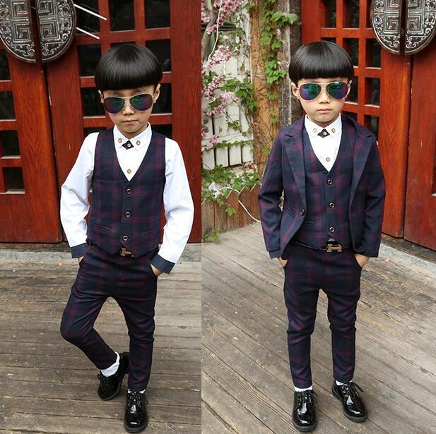 New Hot Spring Autumn (Jackets+Vest+Pants+Shirt) 4PCS Boy Suits Flower boy Slim Fn Dress Wedding Candy colors Suits  <br><br>Aliexpress