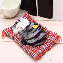 Stuffed Toys Cute Simulation Animal Doll Plush Sleeping Cats Toy With Sound Kids Toy Birthday Gift Decor Toys For Children Girls