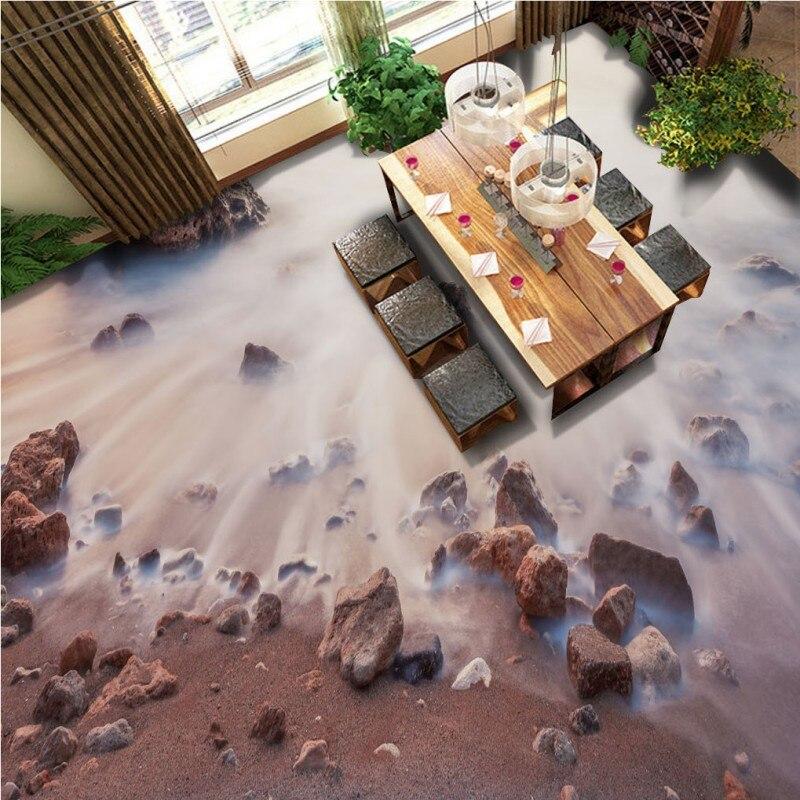 Free Shipping flow water stone 3d floor wallpaper restaurant walkway waterproof self-adhesive floor mural<br>