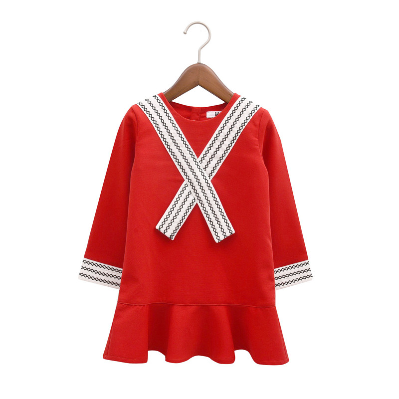 2017 Spring New Fashion Clothes Children Red Mini O-neck Dress Cute Mermaid Dresses sets<br><br>Aliexpress
