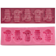 5 hold Christmas winter snowman Silicone Fondant Soap 3D Cake Mold Cupcake Jelly Candy Chocolate Decoration Baking Tool FQ1866