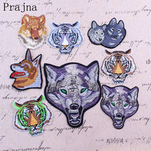 Prajna 1PCS Punk Rock Tiger Patch Biker Iron On Dog Wolf Patch Cheap Embroidered Motorcycle Patches For Clothes Jeans Applique