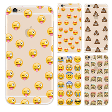 Fashion Lovely Funny Emoji Case For iphone 4 4S SE 5 5S 5g 5C 6 6S 6Plus 7 Plus Transparent plastic Cell Phone Cases Cover(China)