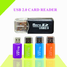 1 PCS Colorful External cardreader Mini USB 2.0 Card reader for Micro SD Card TF Card for PC MP3 MP4 Player usb hub adapter
