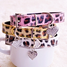 Leopard Dog Collars For Small Dogs  Yellow Pink White Fashion PU Lead With Rhinestone Heart Pet Goods For Puppy Chihuahua Yorkie