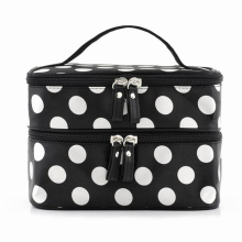 Black Large Capacity Cosmetic Bag Woman Dots Portable Storage Makeup Bags Canvas Beauty Organiser Handbag Big Travel Bag