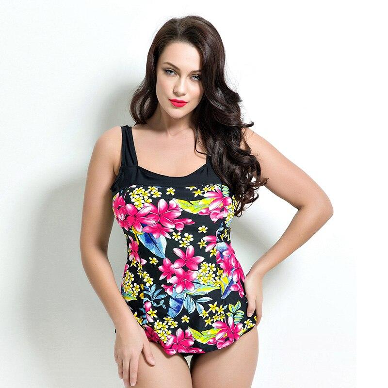 Plus Size Flower Bow Swimwear Summer Style Cheap Bodysuit 2017 One Piece Brand Swimsuit Large Size Big Bra Women Maillot de bain<br>