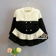 princess girls wear new autumn black&white stripe Knitted kids clothes party pearl Cardigan+skirt noble roupas infantis menina