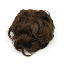 Soloowigs High Temperature Fiber Synthetic Hair Pieces Women Curly Buns Black/Light Brown/Blonde Rubber Band Chignons(China)