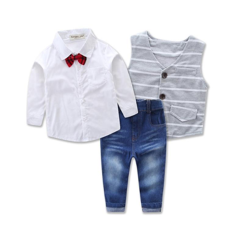 2017 Hot Spring Autumn Kids Suit 3 Piece Bow Set Toddler Boys Formal Vest Gentleman Boys Wedding Clothes Party Wear Kids Outfits<br><br>Aliexpress