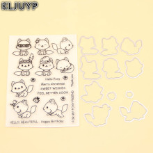 KLJUYP Cute Fox Transparent Stamp And Cutting Dies for DIY Scrapbooking/Card Making/Kids Fun Decoration Supplies(China)