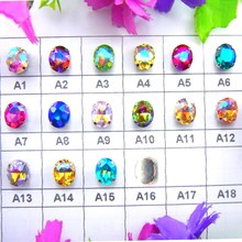 AB colors silver claw settings 7 Sizes Oval shape glass Crystal Sew on rhinestone beads wedding dress accessories trim(China)