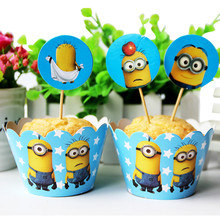 minions theme 24pcs Cupcake Wrapper Toppers happy birthday party Supplies Dessert shop cake decoration cake accessory
