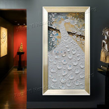 Hand Painted Large Abstract Oil Painting Peacock Palette Knife Painting Canvas Art Wall Picture Modern Home Decoration(No Frame)