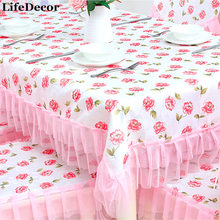 Pink Lace Rectangular Tablecloths Korean Dining Table Cover High Quality Christmas Table Cloth For Home Decoration