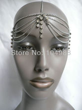 2013 FREE SHIPPING STYLE BY-125 Unique Design Grecian Style Women Silver/Gold Head Metal Body Chain Jewelry Circlet Rhinestones