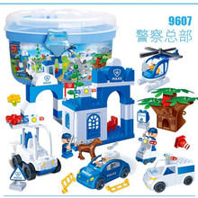 Big Building Blocks bus Police Station truck City Plane ship Motorcycle duploed 88Pcs