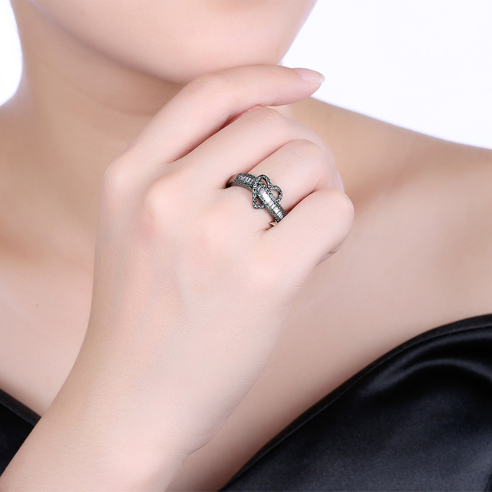 Hainon Luxury 2018 New Wedding Rings For Women Heart Design Black ...