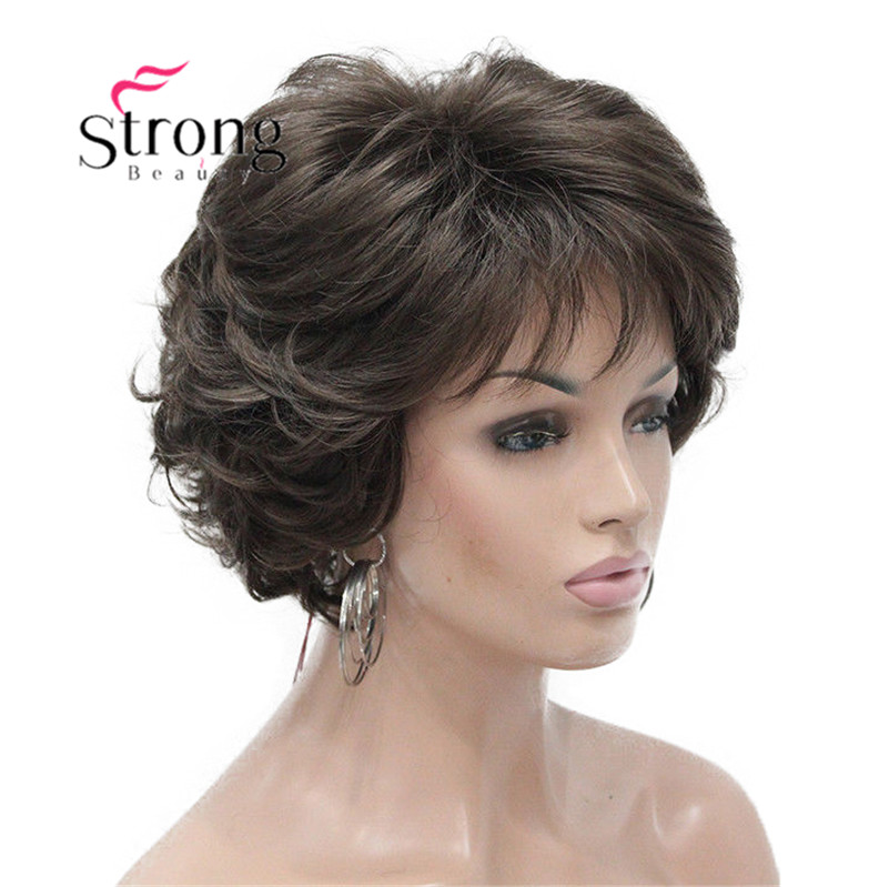 E-7125 #8 New Wavy Curly wig Medium Brown cloor 8# Short Synthetic Hair Full Women's wigs (3)