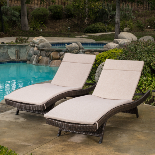 Lakeport Outdoor Adjustable Chaise Lounge Chairs w/ Cushions (set of 2) (2)