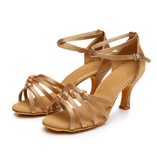 NEW Women Adults Mid Heel Latin Dance Shoes Satin Tango Rumba Salsa Dancing Sandals Shoes Indoor Suede Sole