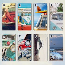 Retro summer volkswagen bus beach art style transparent phone Case for Sony Xperia C4 C5 C6 e4 e5 z3 z4 z5 M4 M5 XA(China)