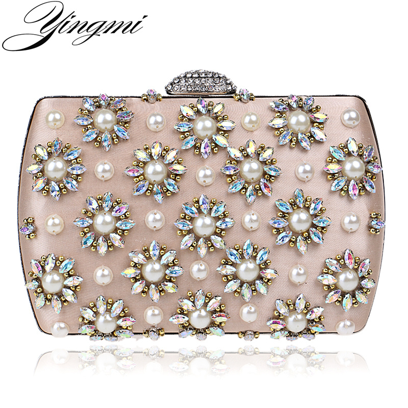 Handmade Style Flower Beaded Rhinestones Women Evening Bag Satin Vintage Chain Shoulder Day Clutches Evening Bag For Party<br>