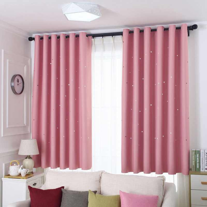 Solid Color Shiny Stars Shading Cloth Curtains Bedroom Living Room Blue/Pink Blackout Cortinas Fashion Durable Drapes