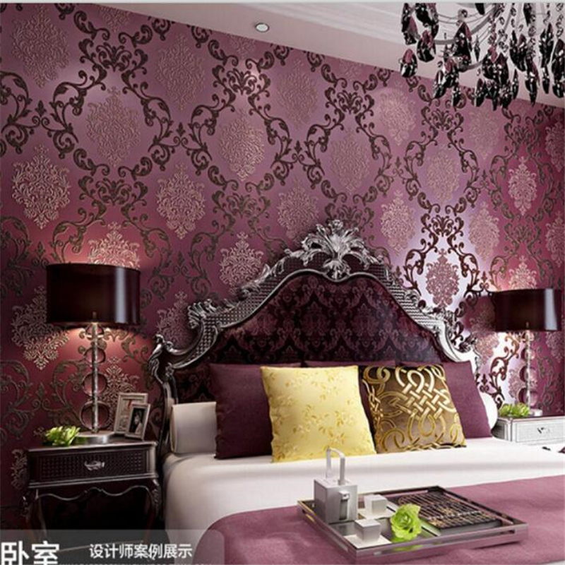 papel de parede Home decoration 3 d wallpaper wallpaper European bedroom living room TV wall luxury purple wallpaper rolls<br><br>Aliexpress