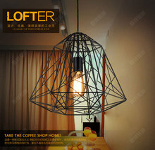 Nordic LOFT American country style retro personalized hotel restaurant bar industrial diamond chandelier Iron lamp free shipping