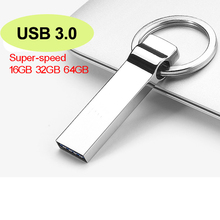 Super-speed USB 3.0 Real 8GB 16GB 32GB Stainless Steel Metal Keyring USB Flash Memory Drives Pen Drive Free Shipping