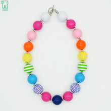 2015 New Girls Colorful Chunky Choker Necklace Fashion Kids Acrylic Bubblegum Bead Necklace Collier Child Cheap Fashion Jewelry