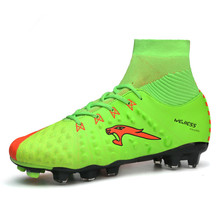 2017 New Leather High Top Mens Soccer Boots Outdoor Long Spike Soccer Shoes Men Black Green Football Cleats Boots With Ankle(China)