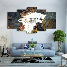 Modular Painting Canvas Wall Art Frame Pictures 5 Pieces Game Thrones World Map Living Room Modern Home Decor HD Printed Poster