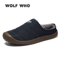 WOLF 누가 큰 Size 37-48 Fashion Brand Slip 에 Casual Shoes Men Winter Warm sneakers 남성 봉 제 로퍼 게으른 shoes krasovki W-038(China)