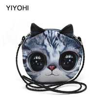 YIYOHI  2017 Women Fashion Small Shoulder Bag 3D Print Head Animal Cat Dog Horse Tiger Pattern Meow Star Messenger Crossbody Bag