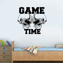 Quote Sticker Football Helmets Game Time Wall Sticker home decoration accessories wall stickers home decor living room adesivos(China)