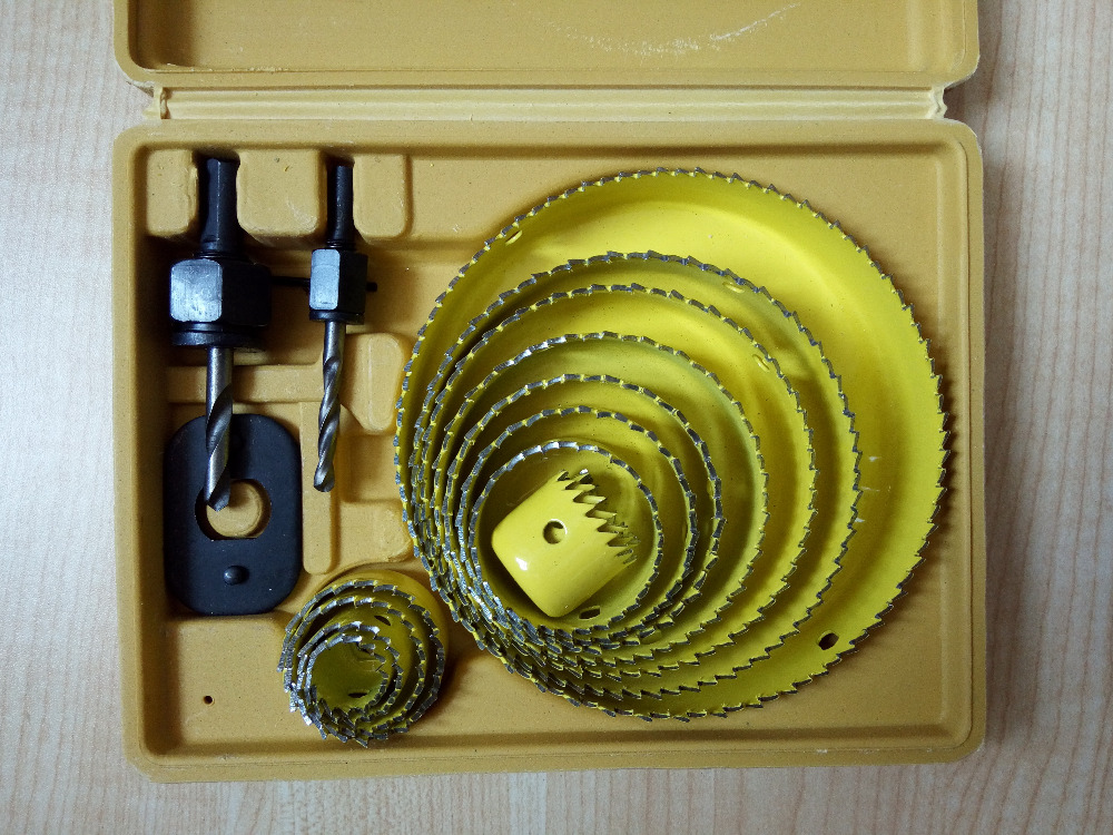 13pcs/set High quality hole saw set 19-127mm for making hole on thin metal sheet, plastic board, wood, and other soft material<br>
