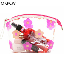 2017 New waterproof thickening pvc transparent cosmetic bag female printed transparent five leaf flower Wash bag